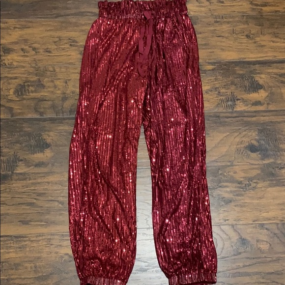 Red Sequence Pants